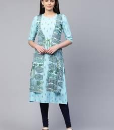 Sky-blue printed viscose rayon ethnic-kurtis