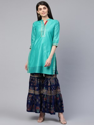 Turquoise brasso chanderi ethnic-kurtis