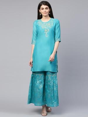 Turquoise embroidered chanderi ethnic-kurtis