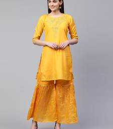 Yellow embroidered chanderi ethnic-kurtis