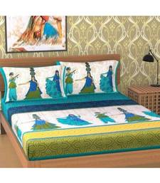 printed multicoloured double jaipuri bed sheets with pillow cover