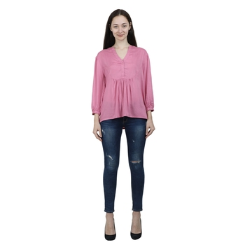 Pink plain viscose rayon cotton-tops
