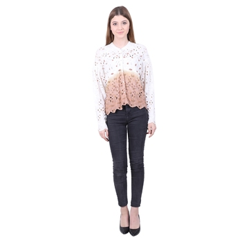 White embroidered blended cotton cotton-tops