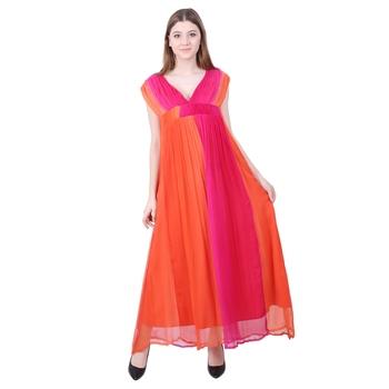 Orange embroidered viscose rayon long-dresses