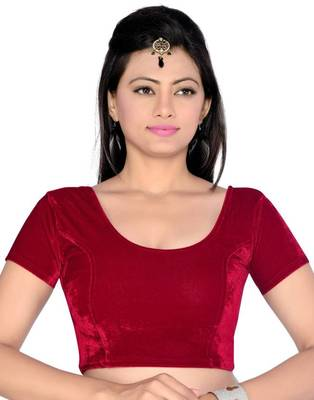 Latest Maroon Color Velvet Fabric Blouse Materials
