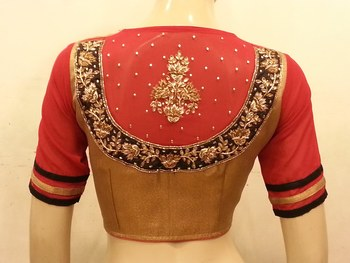 Gold and red georgette sleeves handwork