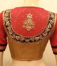 Buy Gold and red georgette sleeves handwork wedding-season-sale online