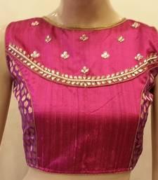 Magenta rawsilk handwork  blouse