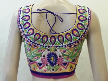 Off white dupion silk multicolor embroidered and mirrorwork blouse