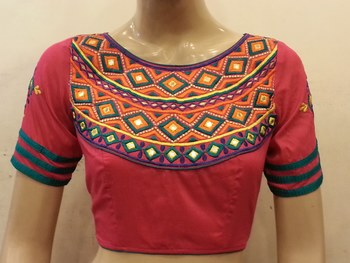 Pink embroidered chanderi silk blouse