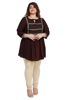 Brown woven rayon short-kurtis
