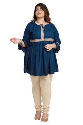Dark-blue woven rayon short-kurtis