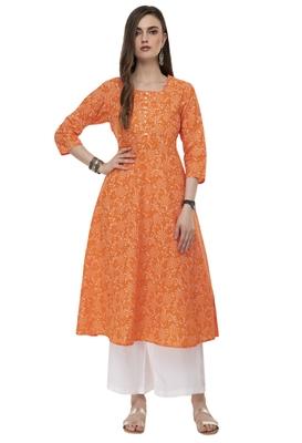 RISHAGA Orange printed cotton party-wear-kurtis