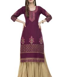 RISHAGA Plum printed cotton party-wear-kurtis