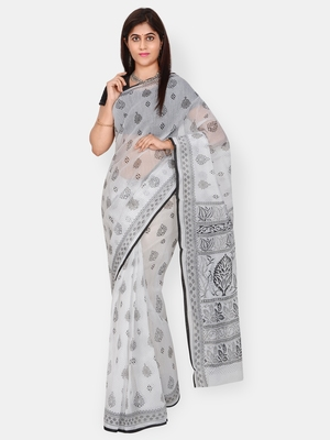 White printed blended cotton saree with blouse