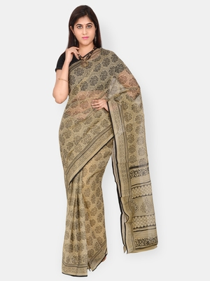 Brown printed blended cotton saree with blouse