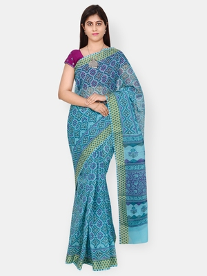 Blue printed blended cotton saree with blouse
