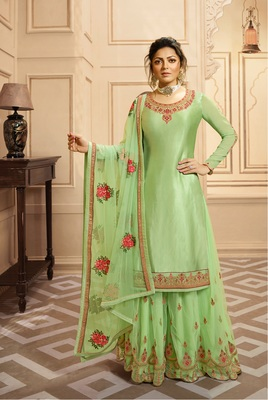 Light-green embroidered georgette salwar