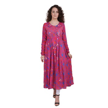 Rani-pink embroidered rayon ethnic-kurtis