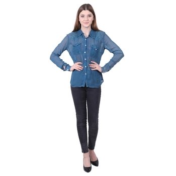 Blue plain viscose rayon cotton-tops