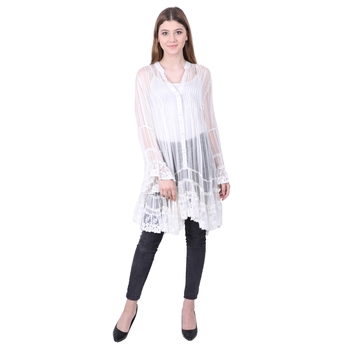 White embroidered viscose rayon long-tops