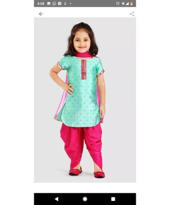 turquoise embroidered jaquard kids-salwar-suits