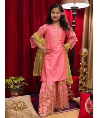 pink plain art silk kids-salwar-suits