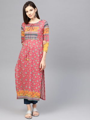 Pinksky Multicolor woven cotton kurtas-and-kurtis