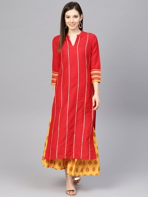 Red woven viscose kurtas-and-kurtis