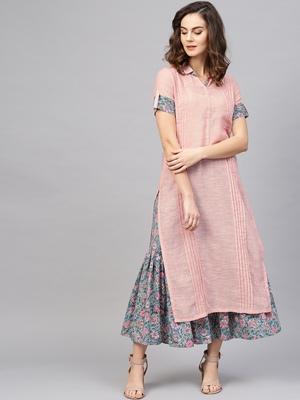 Pinksky Pink woven cotton kurtas-and-kurtis