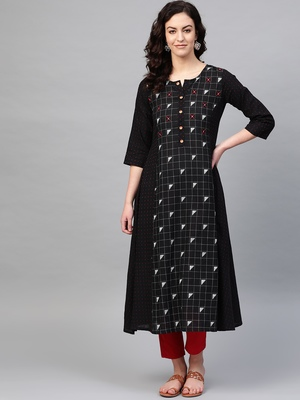 Pinksky Black woven cotton kurtas-and-kurtis