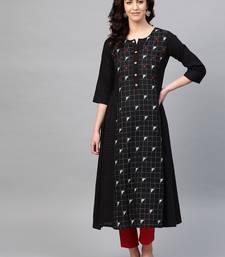 Pinksky Black woven cotton kurtas-and-kurtis