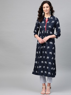 Pinksky Blue woven viscose kurtas-and-kurtis