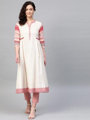 Pinksky Off-white woven cotton kurtas-and-kurtis