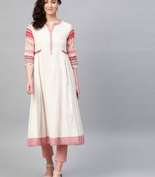 Pinksky Off-white woven cotton kurtas-and-kurtis