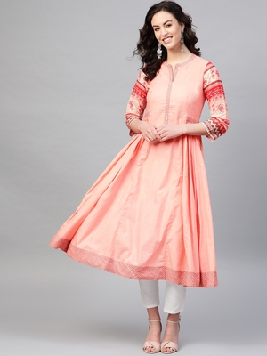 Pinksky Pink woven cotton kurtas-and-kurtis