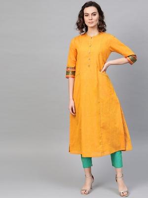 Pinksky Yellow woven cotton kurtas-and-kurtis