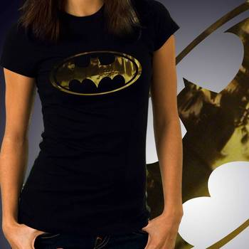 BatWomen Girls Foil Tshirt at Offer, Womens Gold Special Effect T-shirt