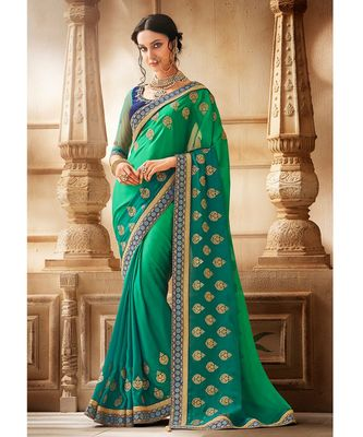 Ferozi Green Shaded Satin Georgette Saree having Zari Work with Navy Blue Border and Blouse