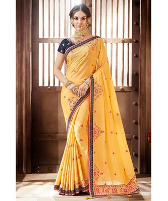 Yellow Chinon Saree having Resham Work with Navy Blue Diamond Lace and Border
