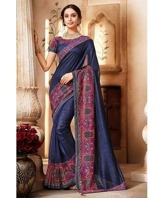 Navy Blue Handloom Silk Saree with Navy Blue Border and Blouse