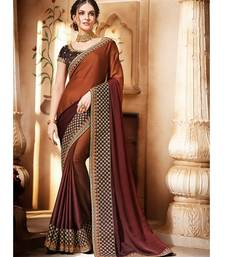Coffee Shaded Satin Georgette Saree having Coffee Borders and Blouse