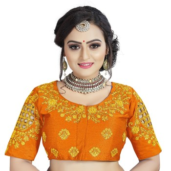 Orange Phantom Silk Fancy Cutwork Gold Color Diamond Handwork Embroidery Coding Work Stitched Blouse