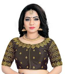 Brown  Mango Silk Embroidery Coding Work & Diamond Handwork Stitched Blouse