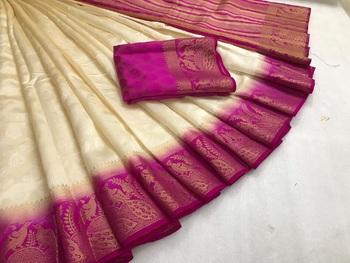 White woven art silk saree with blouse