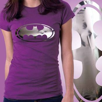 BatWomen Girls Foil Tshirt at Offer, Womens Silver Special Effect T-shirt