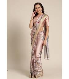 Brown Printed satin saree with blouse