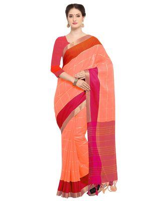 peach plain Silk Blend saree with blouse