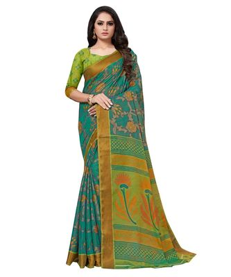 Green plain brasso saree with blouse