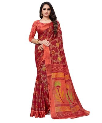 Red plain brasso saree with blouse